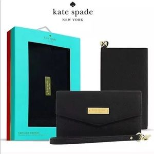 Kate Spade black leather phone / clutch in one!